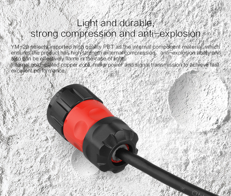 Waterproof Speaker Electrical 7 Pin Connector with Earth Protection