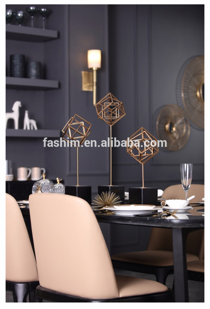 Modern metal ornaments office showpiece interior decoration geometric sculpture Nordic decor sculpture