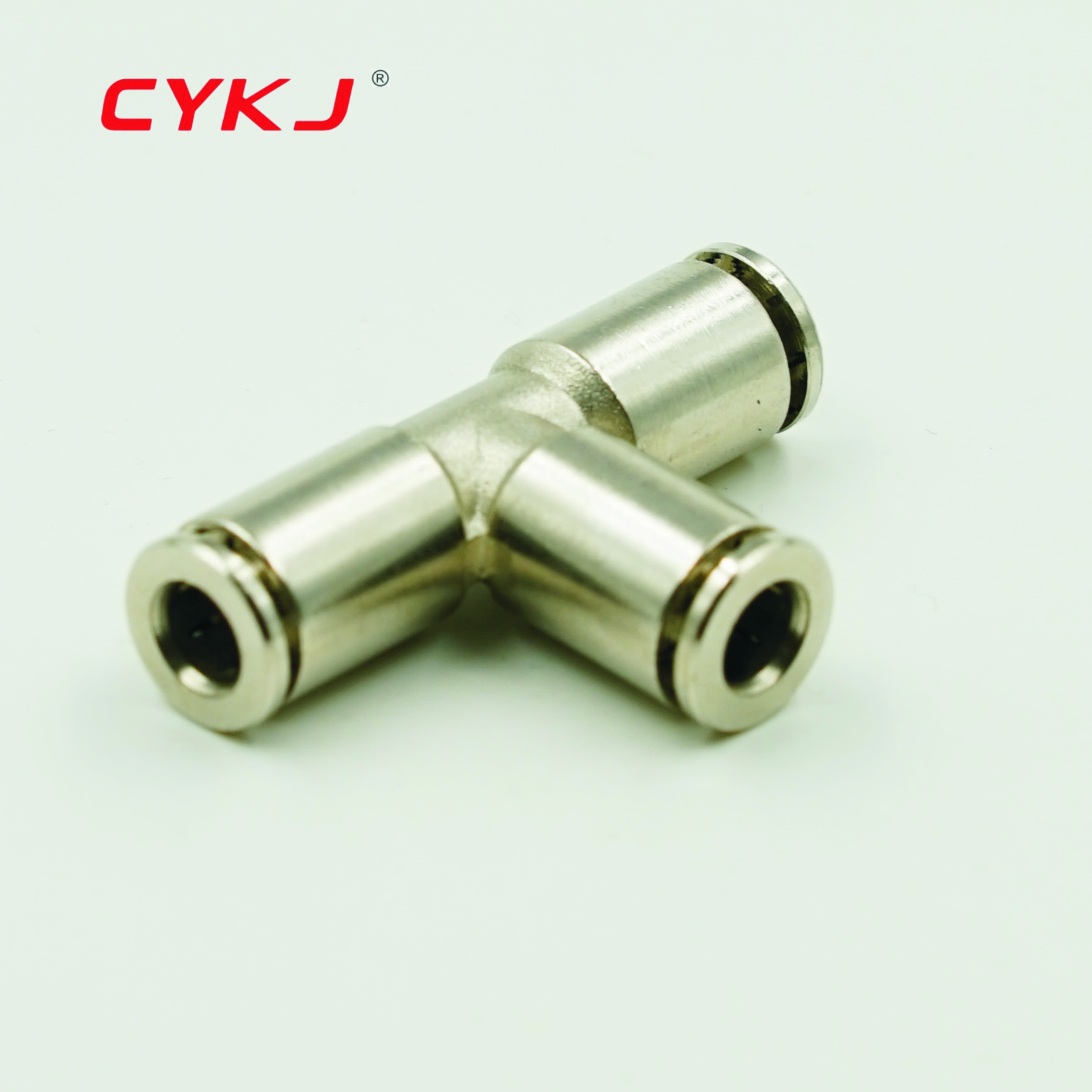 Pneumatische Gelijke Tee Connector 4 6 8 10 12 14 15 16MM PE ZET T Type 3 Manier Koper elleboog Air Push in fittings