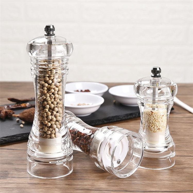 transparent acrylic pepper mill manual grinder for salt and pepper