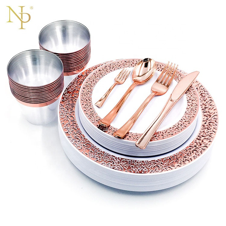 Nicro 150 PCS Hot Stamp Fancy Disposable Wedding Party Charger Rose Gold Plastic <strong>Plates</strong> Set Dinnerware