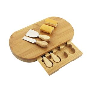 Custom Kitchen Natural Bamboo Cutlery Set  Cake Bread Slicing Plate Drawer Cheese Cutting Board