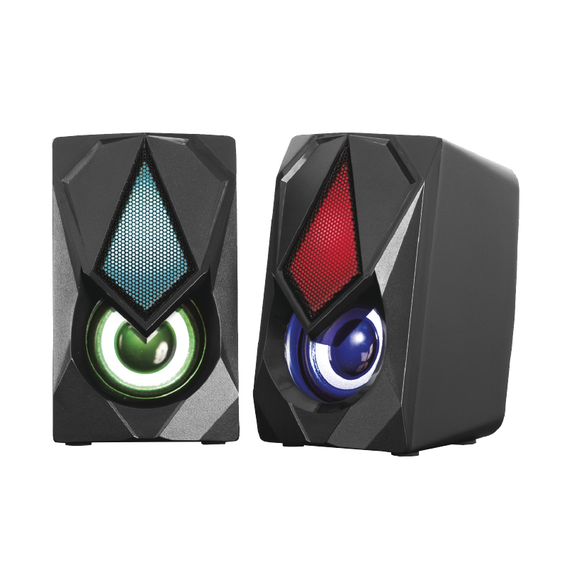 Hot Sale Direct Factory 2.0 USB PC Computer Dual Big Bass  RGB Gaming Speaker