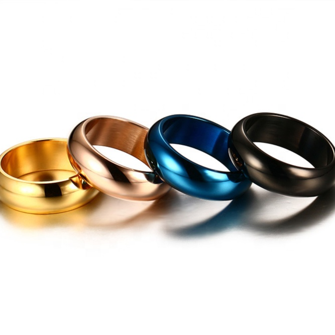 Retro Titanium Vintage Jewelry Gold Plated Multi Size Plain Top Band Rings For Women Men Stainless Steel Ring Unisex Wholesale фото