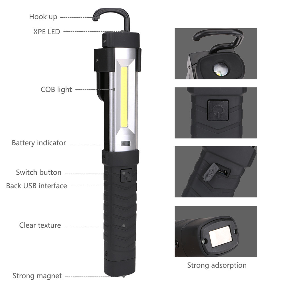 Pivoting Magnetic Handheld ABS Magnetic Hook Worklight USB Rechargeable 3.7V 1500mAh 18650 Battery 3W XPE Cob Led Work Light