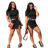 QB5131 ladies stylish black skirt and crop top two piece set