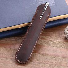 Винтажный чехол-карандаш из натуральной кожи ручной работы, ретро-сумка из воловьей кожи для ручек-фонтанов, школьные и офисные подарки, Кан...(Китай)