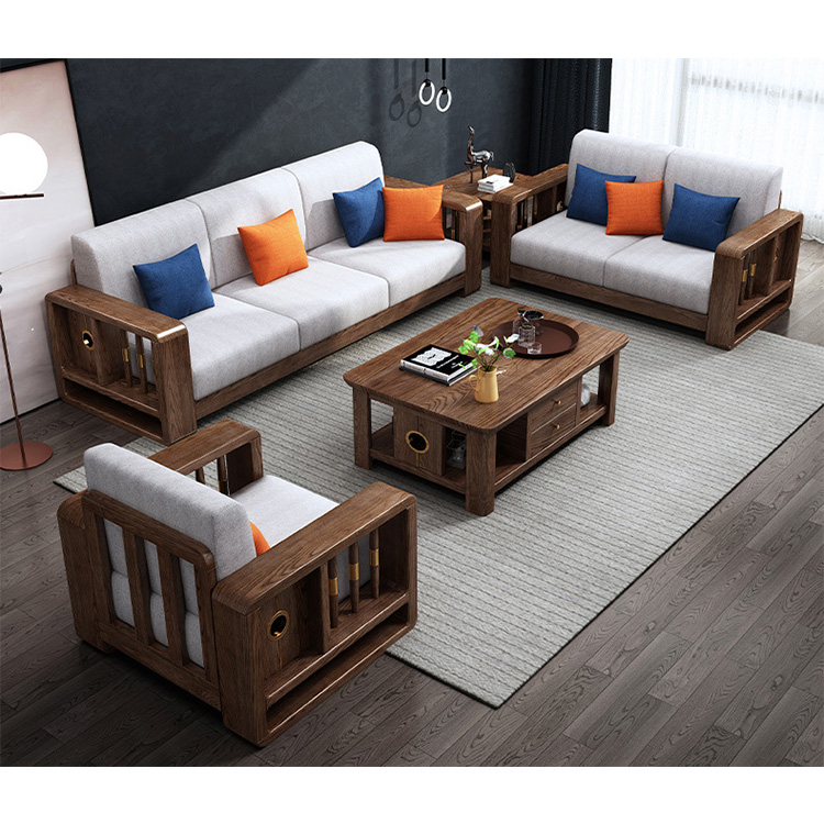 product-BoomDear Wood-Shaped Sets Sectional Model Wood Chair Drawing Room Set Oak Solid Frame White