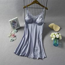Сексуальная шелковистая Пижама, женская ночная рубашка с v-образным вырезом, топ на бретельках, ночная рубашка без рукавов, летняя одежда дл...(Китай)