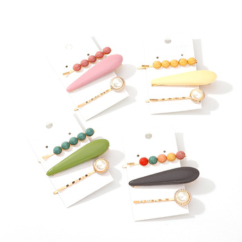 Korean  new hair clip candy color flower set word clip for female