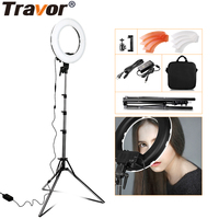 Portable dimmable photography video camera 12inch 196pcs rechargeable selfie circle led studio makeup ring light with tripod