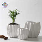 Hand curved matte white wedding decorating plant pots / home decor indoor ceramic planters for garden decoration
