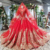 Jancember HTL787 red crystal beaded muslim with long sleeves lace applique women party dresses evening