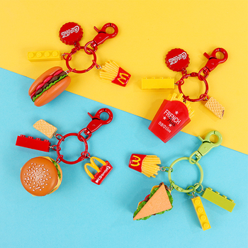 Pay Later wholesale high quality hamburger cute car keychain