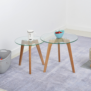 Modern fancy round transparent wood legs tempered glass top coffee table furniture