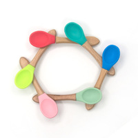 Eco-friendly Cuterly Silicone Wooden Feeding Set Toddler Bamboo Baby Spoon