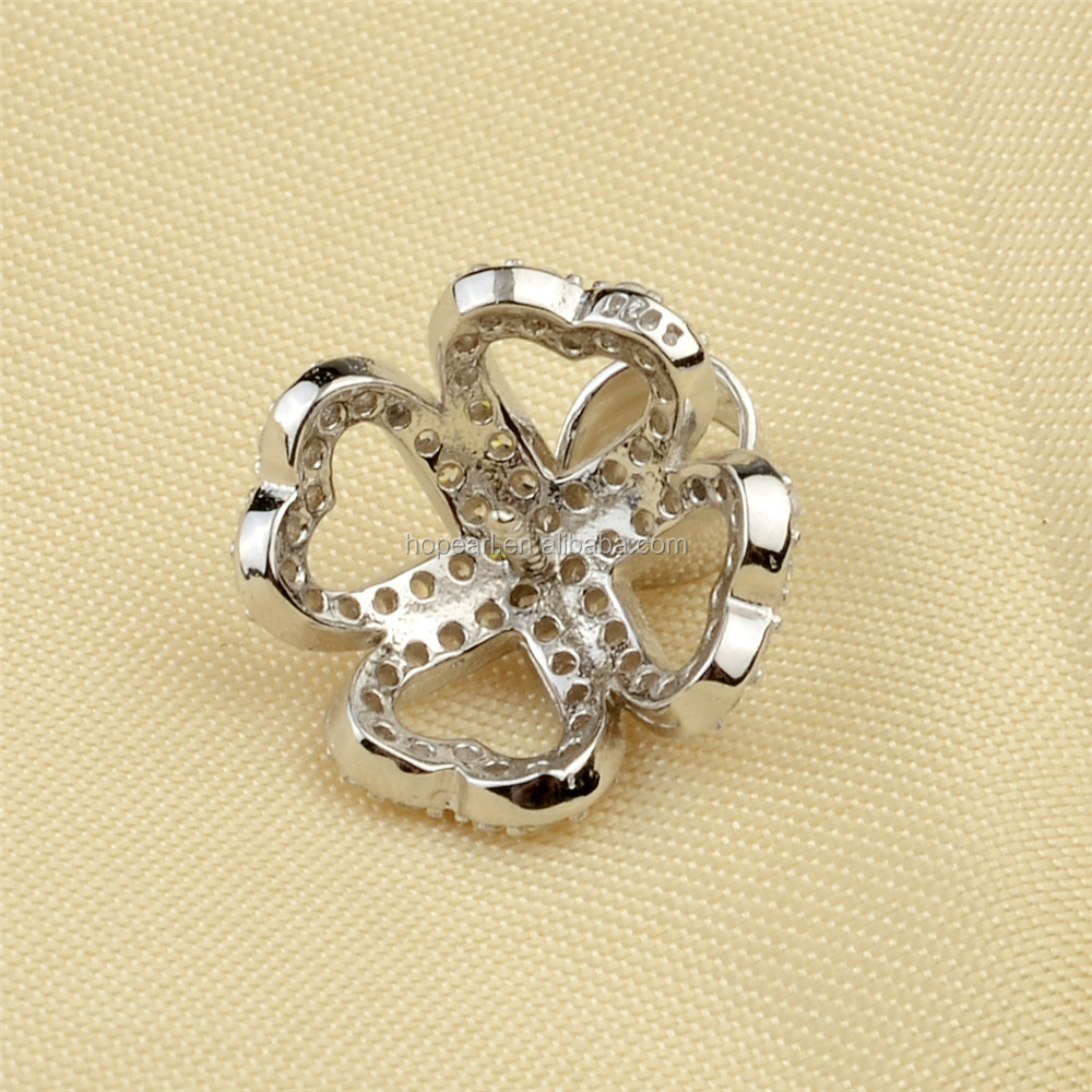 SSP259 Cubic Zirconia Stone Semi Pearl Pendant Mounts Four Heart Cluster 925 Silver Caps for Big Round Pearl