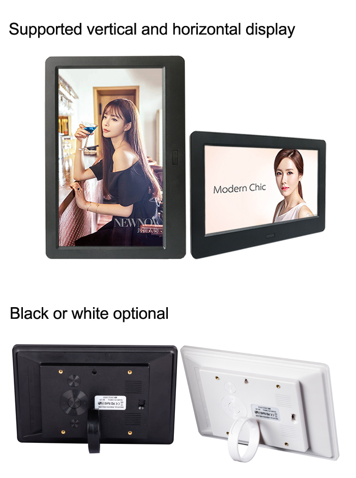 White Digital Photo Frame Support Picture Photos Music Video with Motion Sensor 11.6inch 1080P HD Digital Screen Advertising Exhibition Displayer