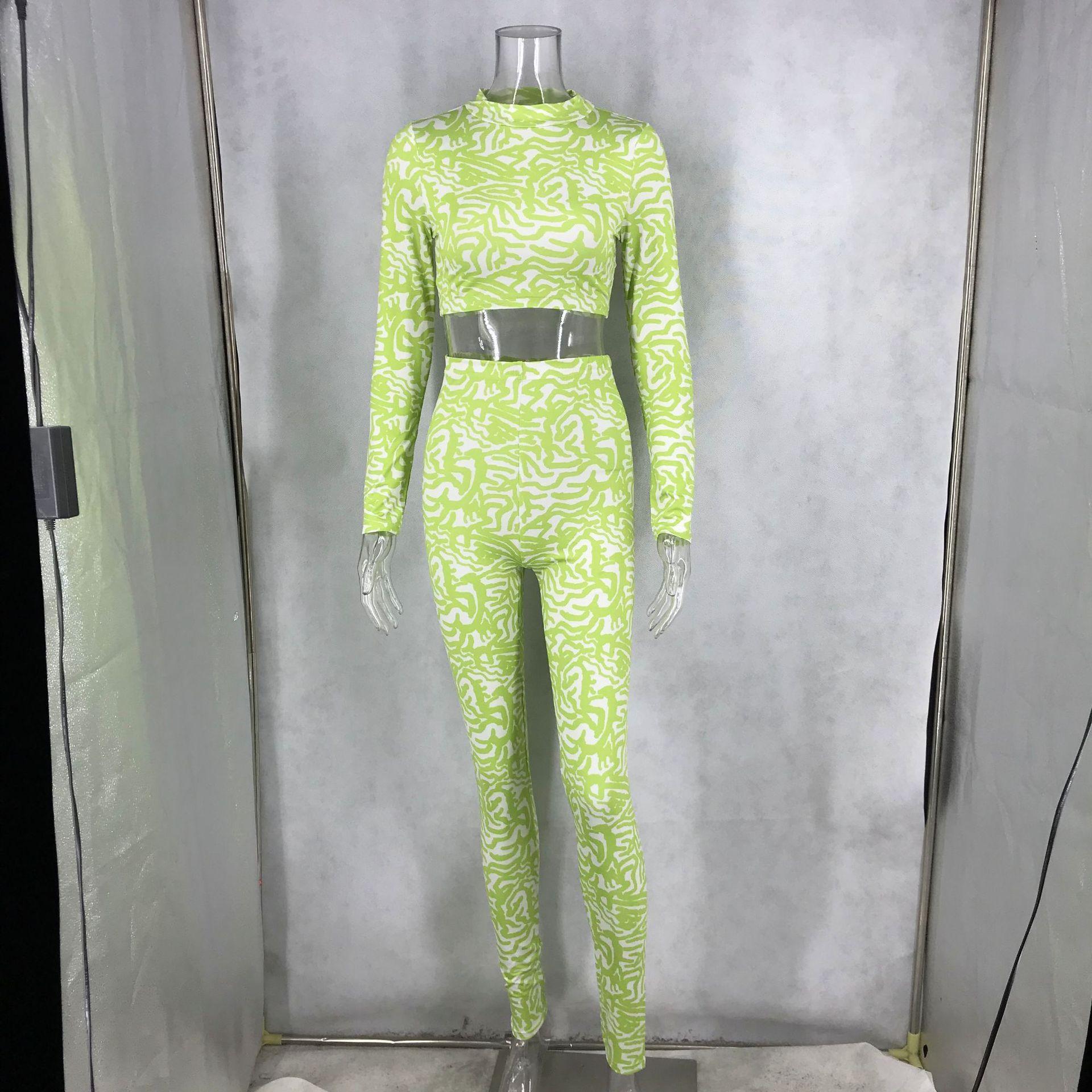 BOOFEENAA, модный сексуальный комплект из двух предметов с принтом, топ и штаны, для женщин, осень 2020, модные одинаковые комплекты, Kyliejenner, наряды, ...(Китай)