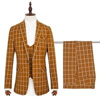 Men's suits three-piece foreign trade wedding dress orange yellow new lattice control