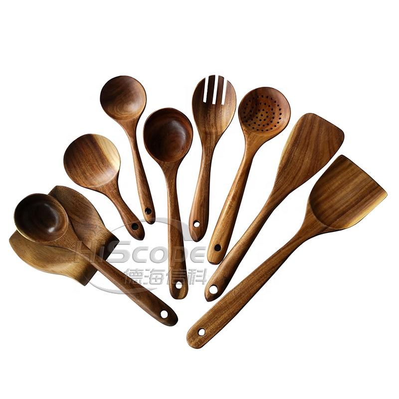 1x Praktischer Küche Kochen Zubehör Solid Holz Teakholz Löffel Spatel Utensilien