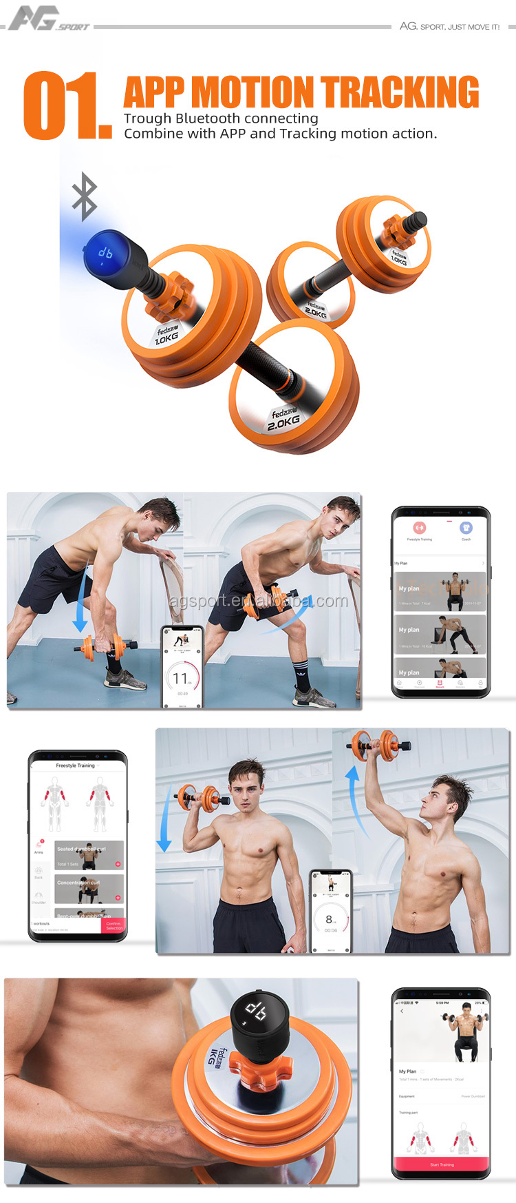 2020 New Technology Smart Wireless Mobile App Tracking  Weight Lifting Adjustable Fitness equipment dumbbell set