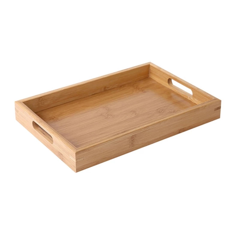 2021 Large Bamboo Wooden Serving Tray Set With Handles,Ottoman Food Breakfast Tray For Coffee Table