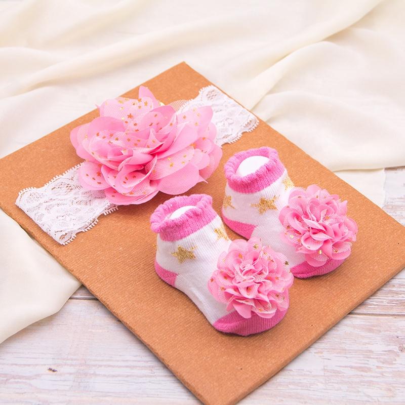 ร้อนขายของขวัญทารกแรกเกิดกล่องลูกไม้ดอกไม้ชุดใหม่เด็กทารก headband และชุดถุงเท้า