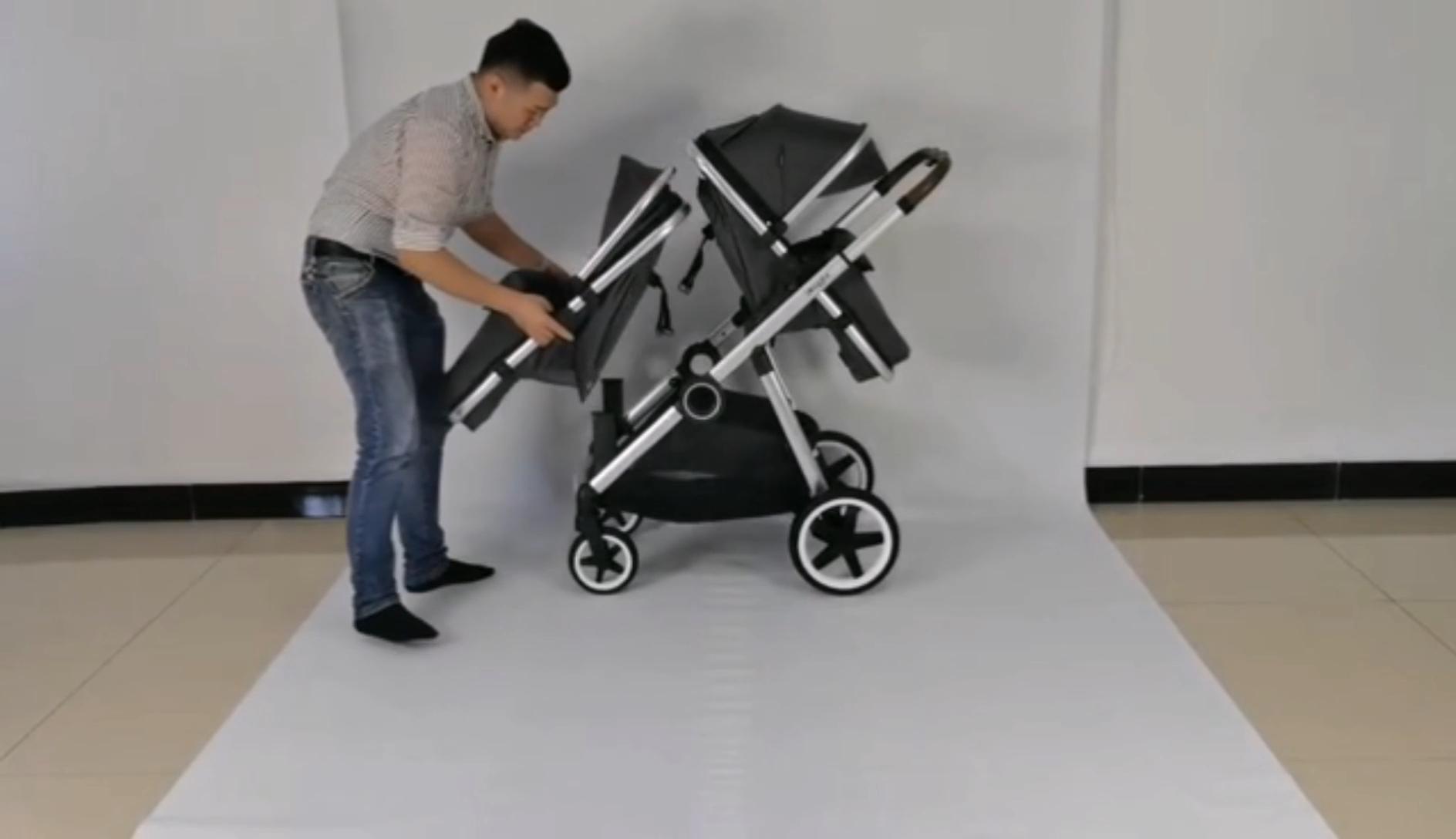 Çin fabrika sağlanan en kaliteli lüks üçlü güvenlik ikizler bebek arabası 3 In 1