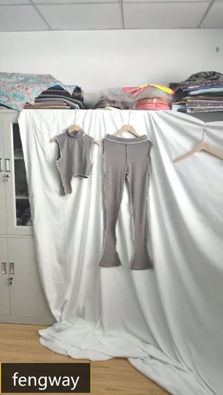 2020 新女性服トップ積み重ねフレアパンツハイウエストグレーセットファッションツーピースセット