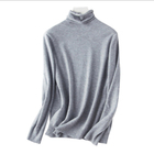 Long sleeved knit cotton top with solid color base for women's winter 2019