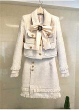 Женский твидовый костюм, элегантный офисный модельный пиджак мини-юбка, комплект из 2 предметов, зимняя одежда(Китай)
