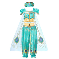 Girls Jasmine Princess Dress 2019 Movie Aladdin Role Playing Sequined Clothing Arabian Peacock Feather Print Tulle Cloak Sets