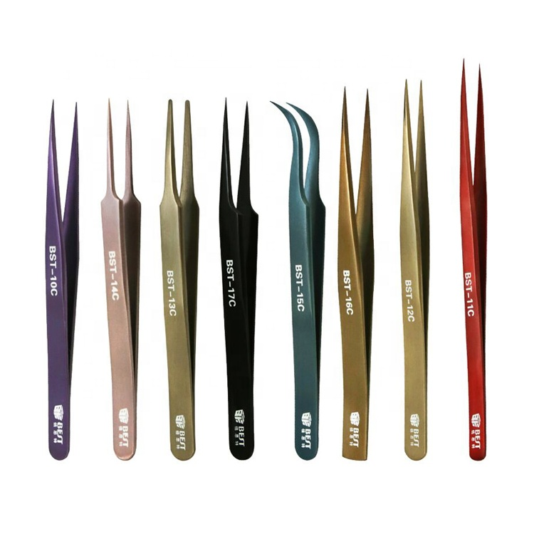 New design BST color coated Stainless Steel Tweezers for Eyelash Extension with Fine Point Tip