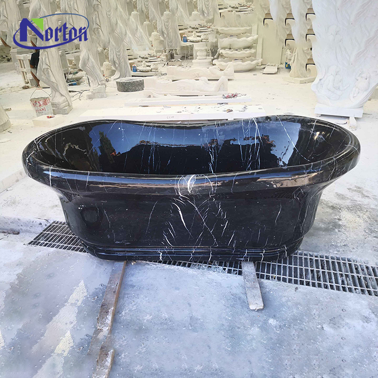 Modern home hotel use natural stone bathtub freestanding marble black bathtub for sale