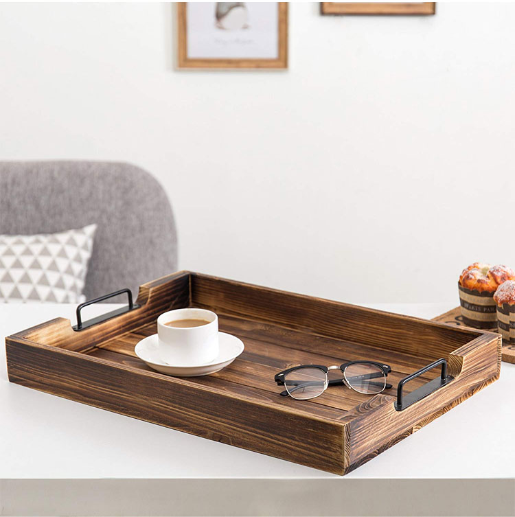 High Quality 20-Inch Serving Tray With Modern Black Metal Handles 7
