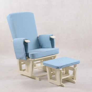 Modern Plush Sleigh Glider Rocking Chair With Ottoman In Grey