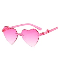 2019 New Style Multicoloured Gradient Cartoon Heart-Shaped Children Shades Rimless Trim Peach Heart Kids Sunglasses
