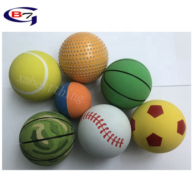Custom Printed Bounce Foam Colorful Rubber Ball use in Gym and Athletic