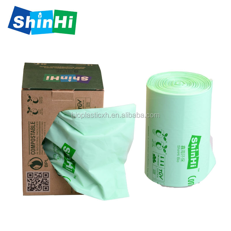 Manufacture 100% biodegradable compost eco green customization durable different size  friendly color plastic garbage bag