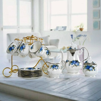 high quality 15 pcs blue floral coffee cup fine bone china tea set
