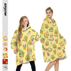 Family New Designed Winter Family Polyester Fleece Blanket Avocado Oversize Soft Hoodie Blanket 2 Sides Wearable