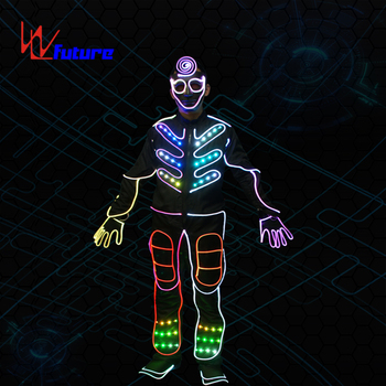 Future Wireless synchronous control led tron dance costume for group dance,programmable LED clothes for show