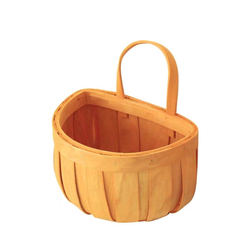 Kitchen wooden Hanging <strong>Produce</strong> Bins Wall Mounted orange wood chip sundries Baskets
