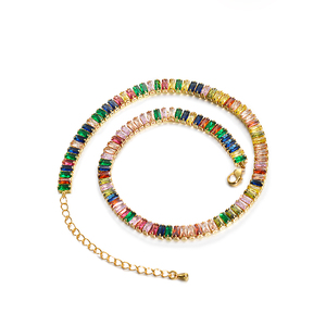 BAOYAN Gold Plated Stainless Steel Jewelry Rainbow Crystal Gemstone Choker Necklace