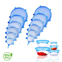 2019 Maxonn New Kitchen BPA Free Silicone Stretch Lids Reusable Stretch Covers Food Stretch Seal Wrap 6 Pack Food Wrap Cover