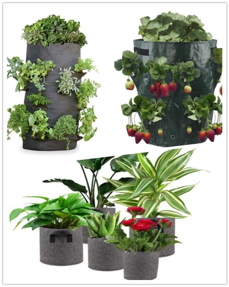 Strawberry Planter Bags For Growing Potatoes Outdoor Vertical Garden Hanging Open Style Vegetable Planting Grow Bag