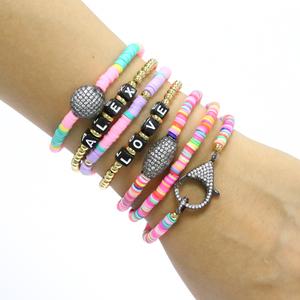 Ladies CZ Diamond Charm jewelry pulseras de hilo por mayoreo mujer
