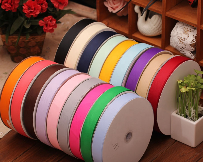 YQ-WR10 Multi sizes middle Grey grosgrain ribbon 4/8'' for gift packing