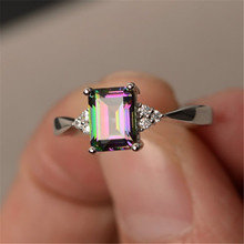 Новинка, кольца с квадратным цирконием радужного цвета для женщин, модное синее кольцо, ювелирные изделия, серебряные свадебные кольца, инд...(Китай)